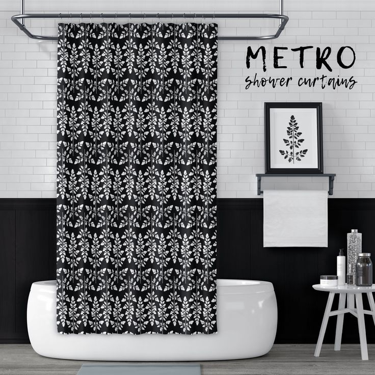 Black And White Astilbe Leaf Natural Geometric Pattern Shower Curtain Fabric Shower Curtains Curtains Boho Bathroom