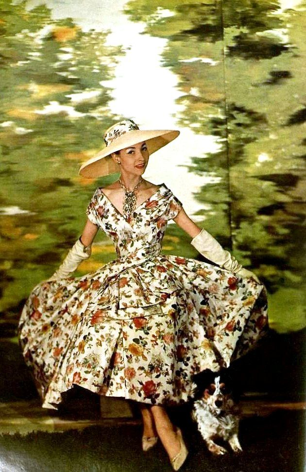 Renee Breton is wearing lovely printed taffeta afternoon-dress by Christian Dior, photo by Georges Saad, L'Art de la Mode, 1956