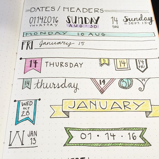adorable date dividers - Great Banner Ideas for bullet Journaling, fun arrows. #bujo #BuJu #bulletjournaling