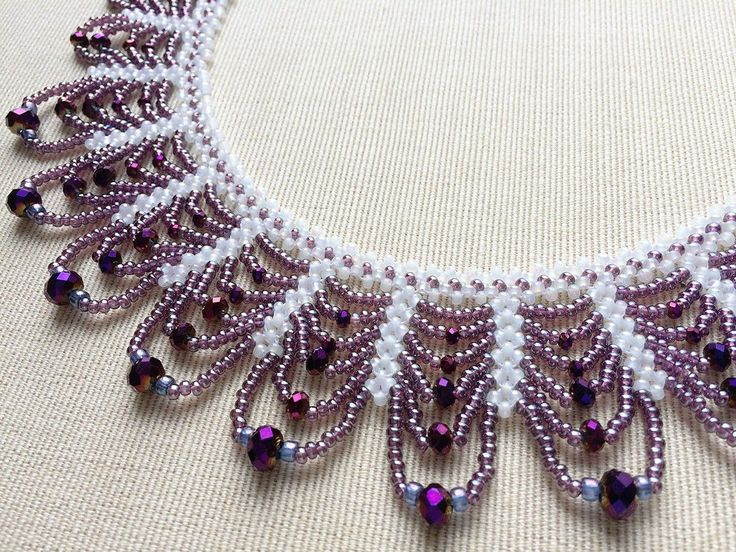 Purple, white lace style bead necklace