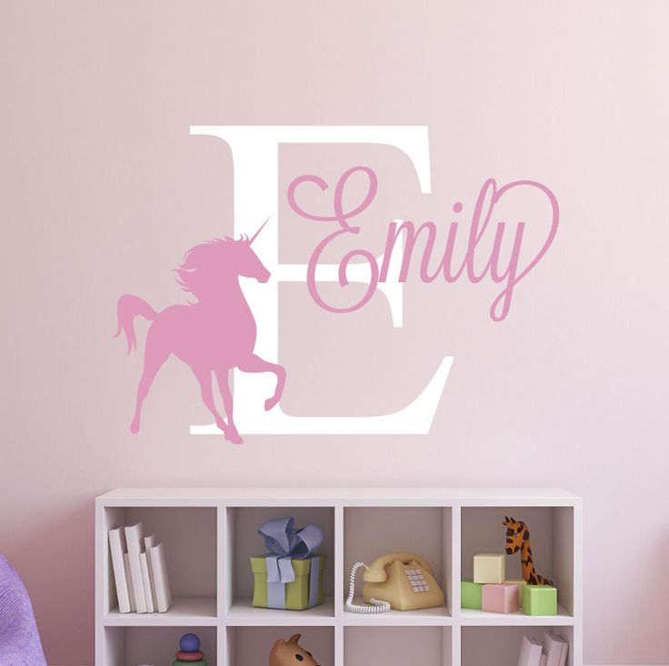 custom unicorn name wall decal girl nursery wall decals decor vinyl art vinyl art nursery. Black Bedroom Furniture Sets. Home Design Ideas