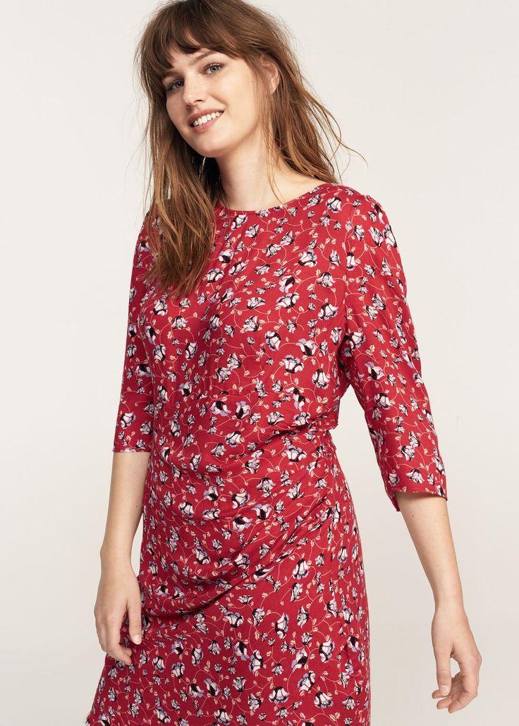 Draped floral dress - Woman | MANGO United Kingdom