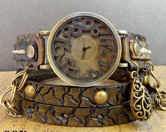 Leather wrist watch, handmade wrap watch, women's wrist watches, Leather watch strap, wrap watch with charm and chain