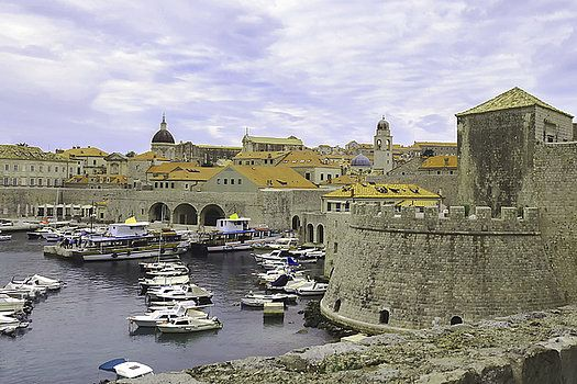 the appearance of a fortress by the sea, the Marina and the ancient Croatian city of Dubrovnik by George Westermak#George Westermak#FineArtPrints#architecture#various_cities,#countries
