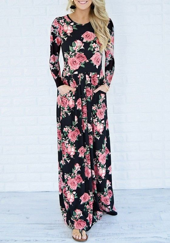 728dcec5e58a Black Floral Draped Pockets Round Neck Long Sleeve Casual Maxi Dress ...
