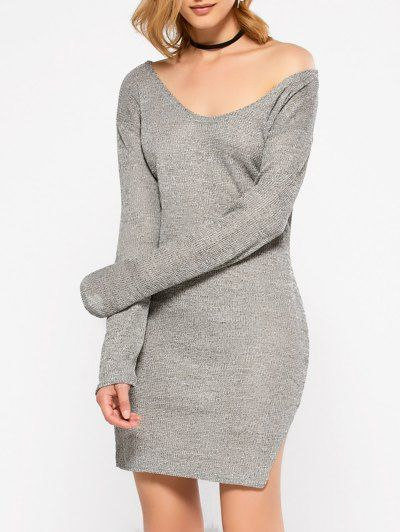 SHARE & Get it FREE | Side Slit V Neck Jumper DressFor Fashion Lovers only:80,000+ Items • New Arrivals Daily Join Zaful: Get YOUR $50 NOW!