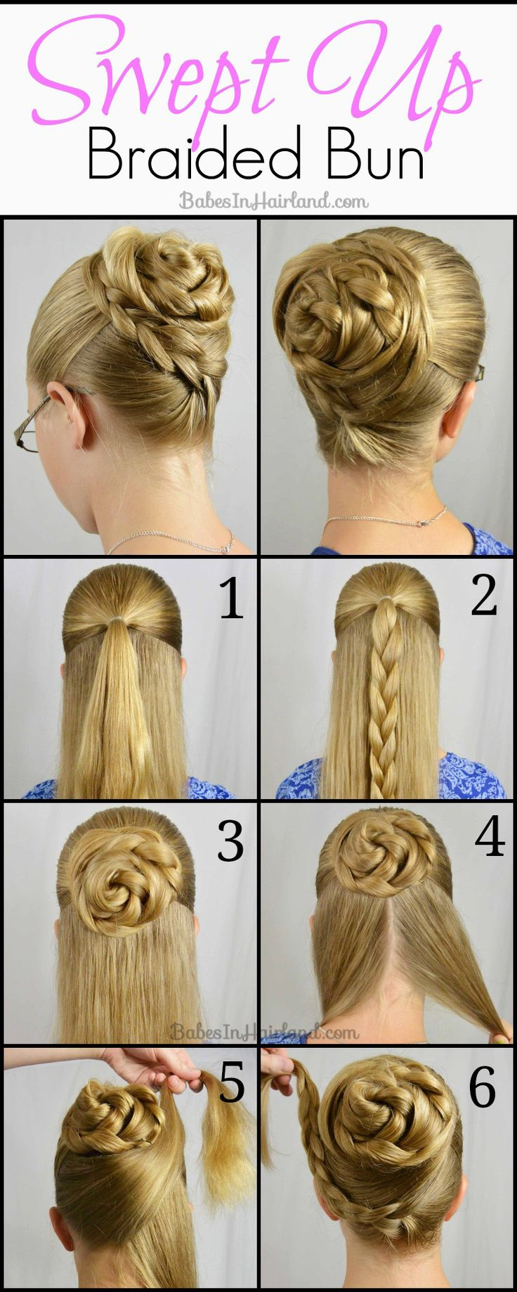 This Swept Up Braided Bun from BabesInHairland.com can be done in just minutes! It looks so easy too!
