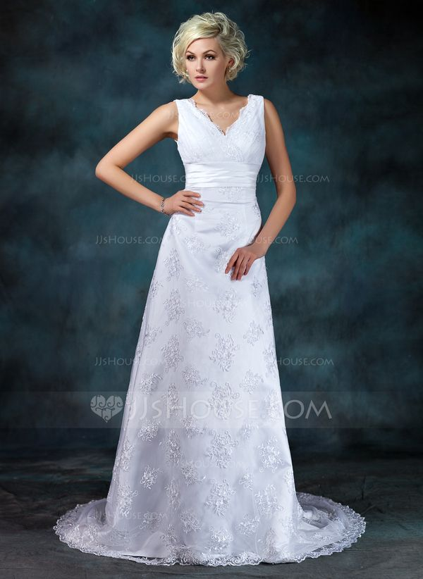 Empire V Neck Court Train Ruffle Beading Liques Lace Regular Straps Sleeveless Beach General Plus No Winter Spring Summer Fall White Wedding Dress