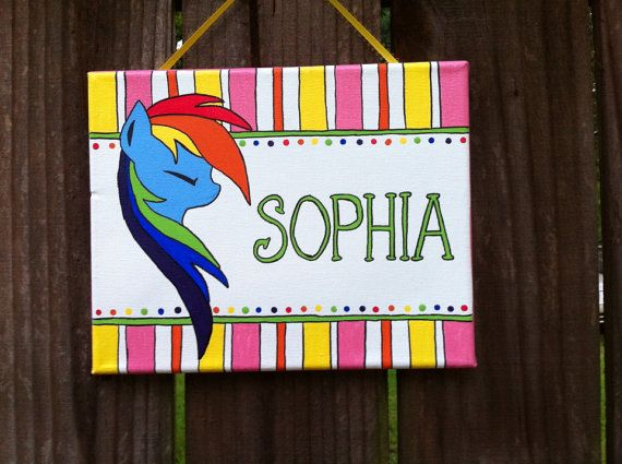 My little pony, rainbow dash, MLP girl's personalized bedroom door sign on Etsy, $20.00