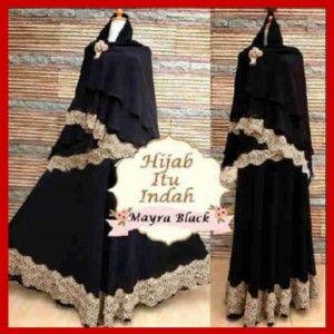 Baju Gamis Syari Modern Terbaru Mayra Black