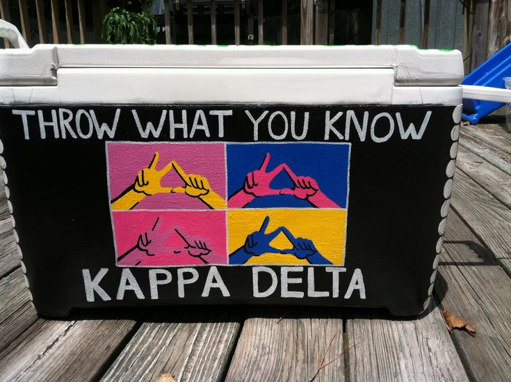 Throw what you know kappa delta sorority painted cooler