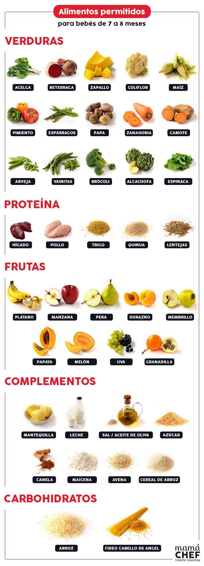 Alimentos permitidos para bebés de 7 a 8 meses según la separata de la Pediatra.
