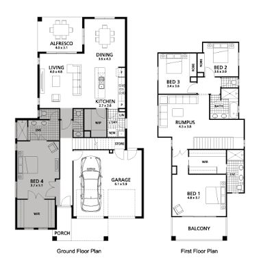1000 ideas about double storey house plans on pinterest for House plans with downstairs master bedroom