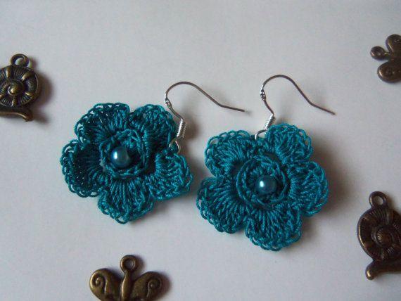 Blue Crochet Flower Earrings. Handmade Flower by Roxana010 on Etsy