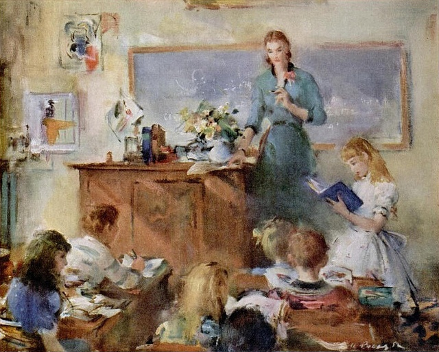 A beautiful painting of a teacher and her students used in a John Hancock life insurance ad from 1953