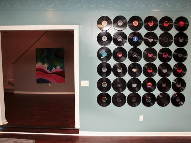 record wall from HGTV Design Star would make great food backdrop or photobooth backdrop