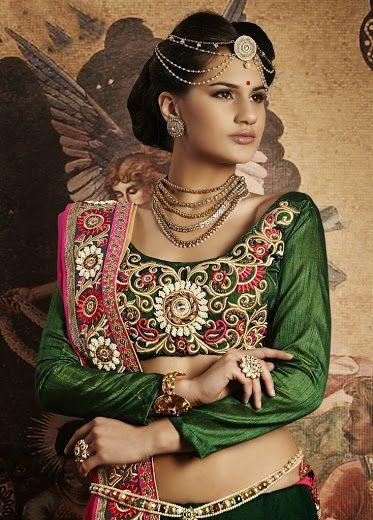 Buy Green colored designer lehenga saree Online - Rs 11590