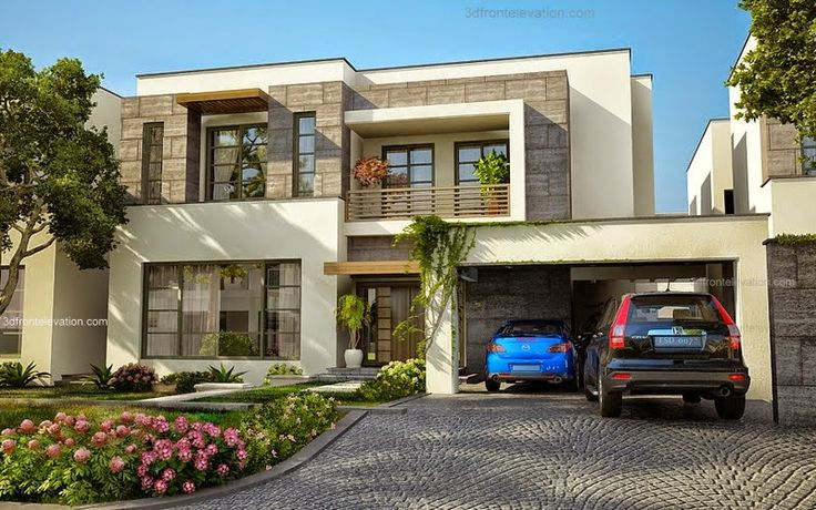 3D Front Elevation.com: Modern House Plans & House Designs in Modern Architecture,1 Kanal Plot Modern Contemporary Luxury House in Lahore Design Wing 3D Front Elevation Pakistan