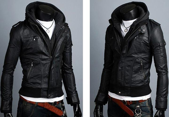New Slim Sexy Top Designed Mens Pu Leather Jacket