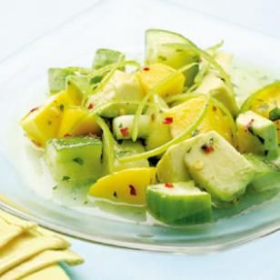 Tropical Cucumber Salad -- combine cucumber, avocado and mango with a salty-sweet dressing for a taste of the tropics. @EatingWell