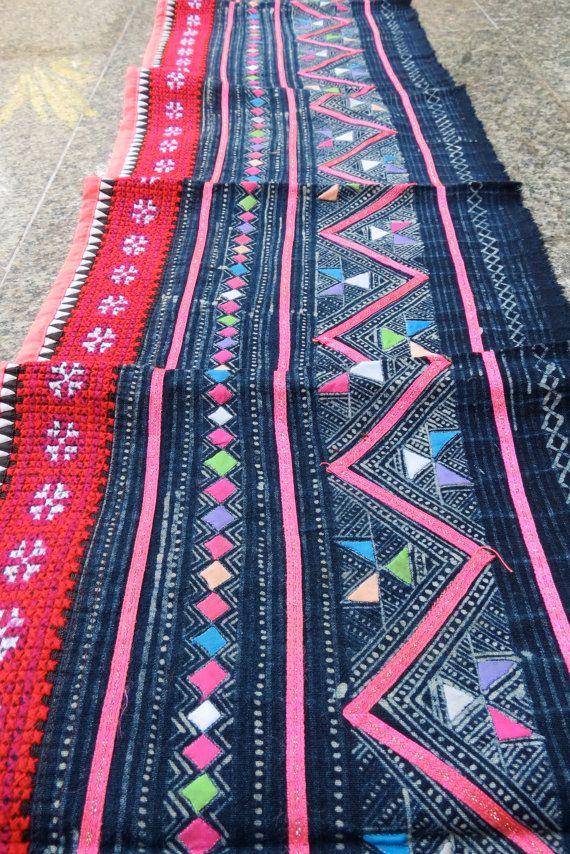 Handwoven Hmong  hemp and cotton Vintage fabric Indigo by dellshop, $49.99