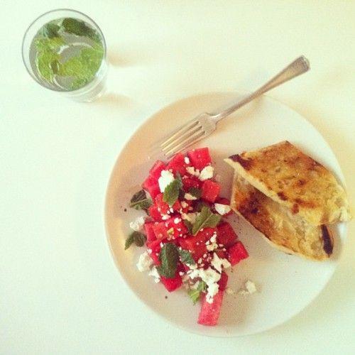 Watermelon, Feta, and Mint Salad.: Watermelon Salad, Watermelon Feta, Mint Salad, Food Yum, Lights Lunches, Lights Food, Grilled Breads, Food Salad, Lunches Recipe