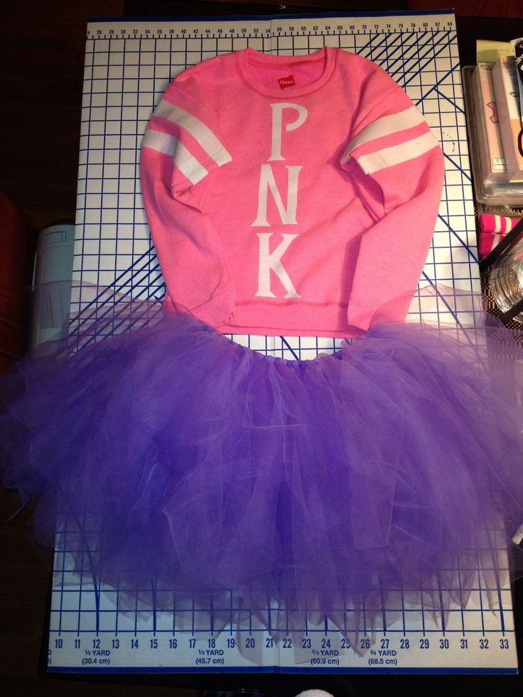 PNK sorority monster costume from Monsters University. Tutu is made from tule, and the sweat shirt has iron on letters on it.