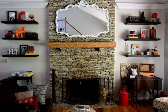 floating shelves next to a fireplace fireplace pinterest shelves the broken and mantles. Black Bedroom Furniture Sets. Home Design Ideas