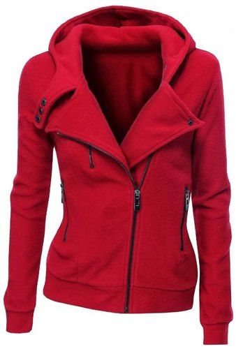 Stylish Hooded Long Sleeve Zippered Slimming Hoodie For Women
