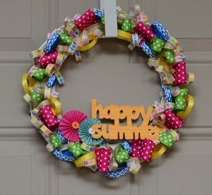 LOVE this summer wreath that @Jennifer McDermott made using American Crafts Summertime Ribbons for ScrapbookSteals.com.