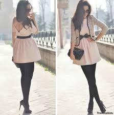 vestido rosado corto medias negras - Buscar con Google