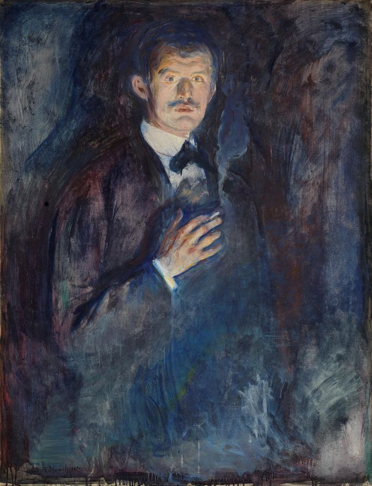 Self-portrait with cigarette Edvard Munch Oil on canvas 1895