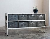 4 x 2 Reclaimed Locker Basket Unit with Natural Steel Bins and White Frame
