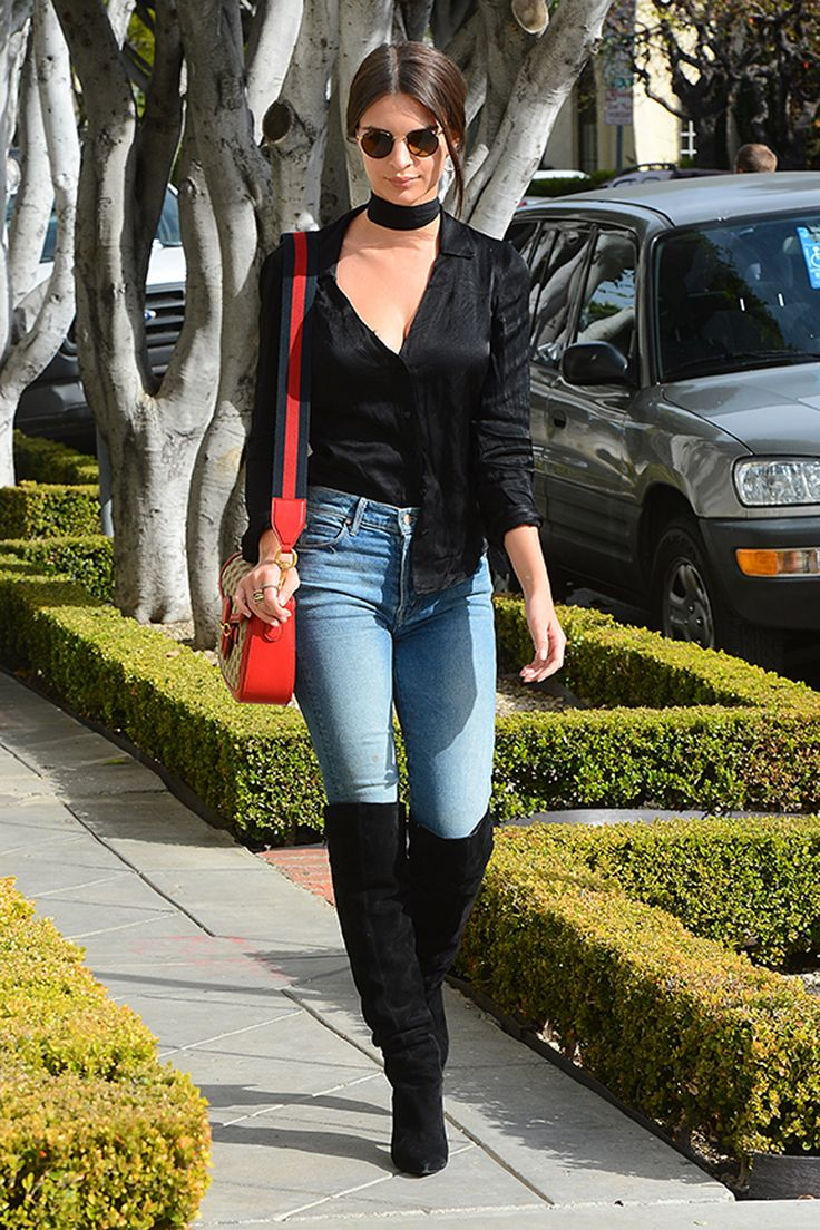 Emily Ratajkowski Brings Back the Boots-Over-Jeans Look