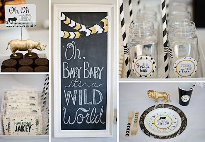 Tribal Lion Birthday Party Collage with Mason Jars, Jungle Place Setting, and More   karaspartyideas.com