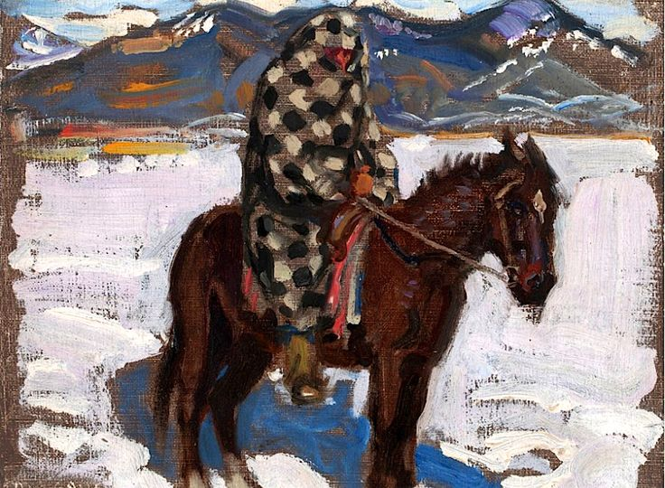 Gallen-Kallela, Akseli Indian on Horseback in Snow, 1925