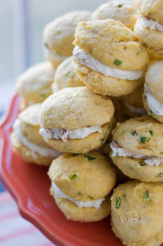 Jalapeño Cornbread Whoopie Pies with Goat Cheese and Bacon Filling