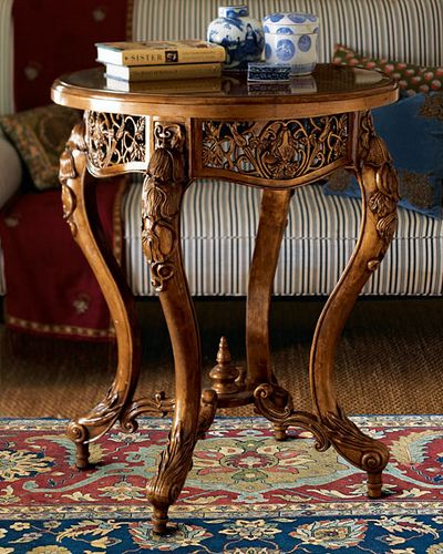 This little table is just gorgeous....love the carving and open work. Beautiful