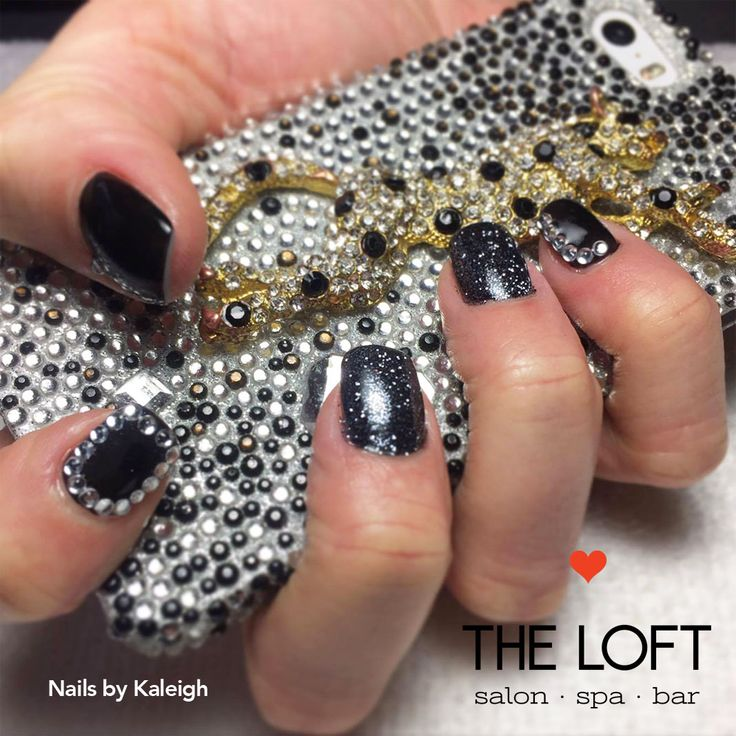 Black sparkly manicure with silver studs by Kaleigh at The Loft in Winnipeg.