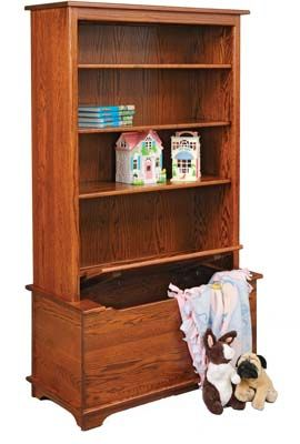 Shaker Toy Box With Bookcase| Indiana Amish Toy Box | Customizable Toy Box