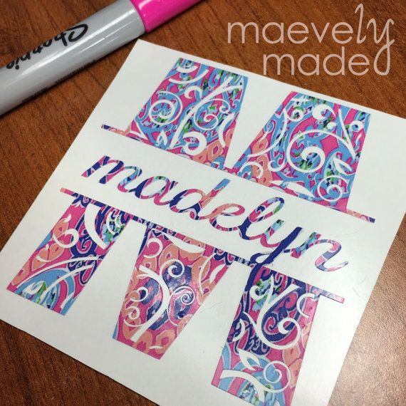 Lilly Pulitzer Inspired Swirlygirl Design | Initial & Name Swirl Decal | Personalized Color Vinyl | Monogram Initials | Gift Tween Teen Girl
