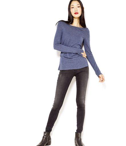 T-shirt manches longues en laine bleu chiné Camaïeu 2016