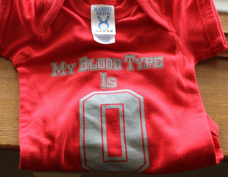 My Blood Type is O- Red and Gray Ohio State Baby Onesie  Newborn, 6 months and 12 months. $13.00, via Etsy.