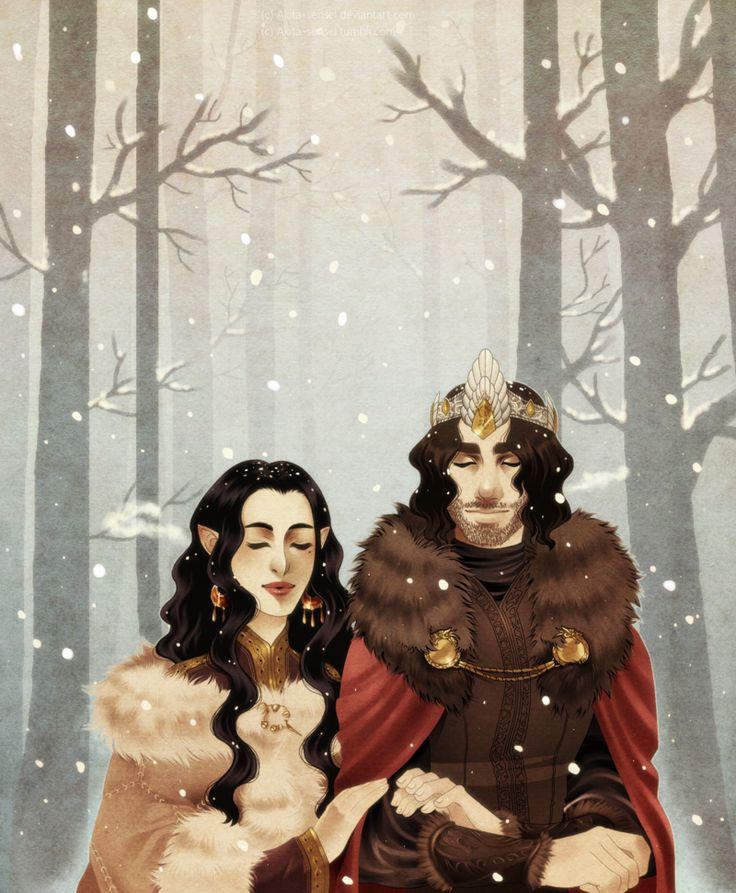 A Happy Yuletide by Akita-sensei on DeviantArt - Aragorn and Arwen #lordoftherings #fanart