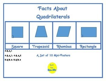 This is a set of 10 mini-posters containing facts about quadrilaterals, from rectangles and squares to trapeziums and kites.  Formulas for area are included on each mini-poster.  By Math Fan