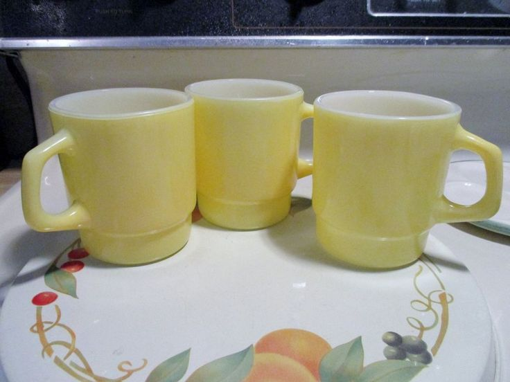Vintage Fire King Yellow Stackable Coffee Mugs x 3 in Excellent Condition.