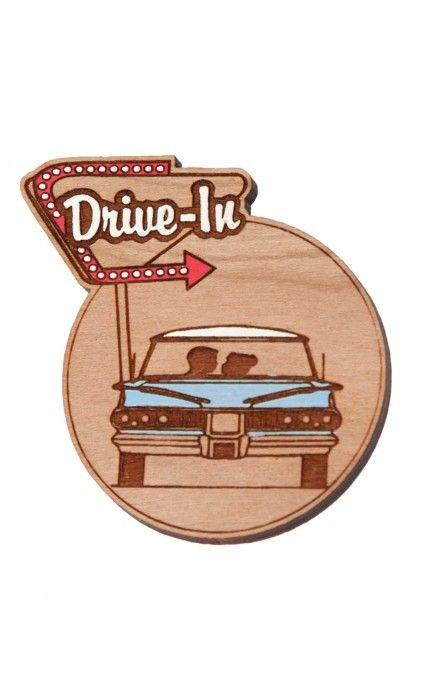 Drive-In Brooch in Blue