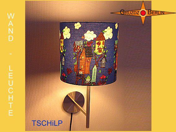 Hier Wandleuchte TSCHiLP mit Beleuchtung im Ø 20 cm Format. Vögel überall ;-). Kleine freche Vögel gücken von dieser Lampe ins Kinderzimmer.