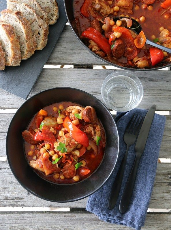 Kyllinggryte med chorizo og paprika