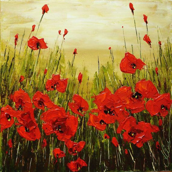 ELENA Red Poppy painting palette knife original by artpower, $120.00